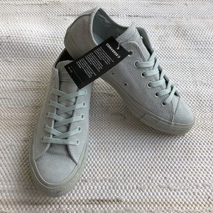 NWT white sliver leather converse